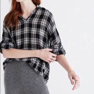 Madewell Highroad Popover Plaid Top Size Xsmall